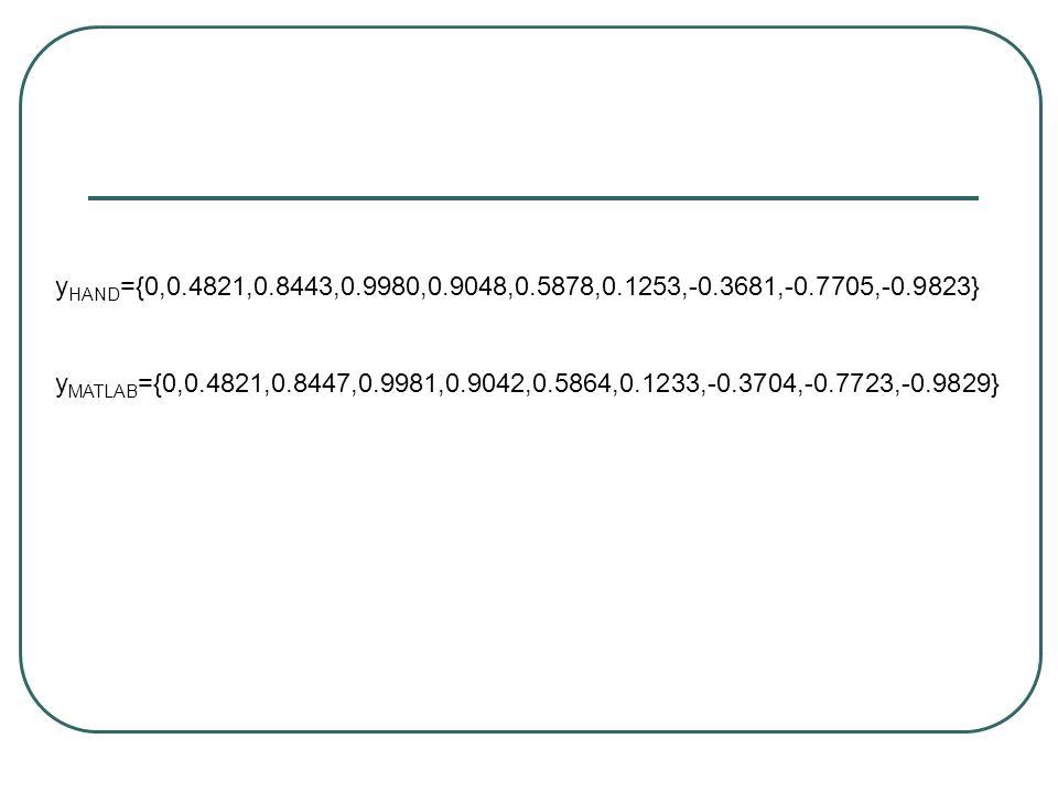 y MATLAB ={0,0.4821,0.8447,0.9981,0.9042,0.5864,0.1233,-0.3704,-0.7723,-0.9829} y HAND ={0,0.4821,0.8443,0.9980,0.9048,0.5878,0.1253,-0.3681,-0.7705,-