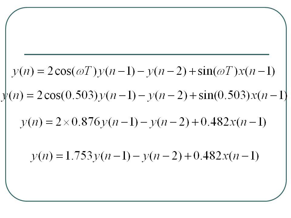 nx(n)x(n-1)y(n)y(n-1)y(n-2) 010000 1010.481800 2000.84430.48180 3000.99800.84430.4818 4000.90480.99800.8443 5000.58780.90480.9980 6000.12530.58780.9048 700-0.36810.12530.5878 800-0.7705-0.36810.1253 900-0.9823-0.7705-0.3681