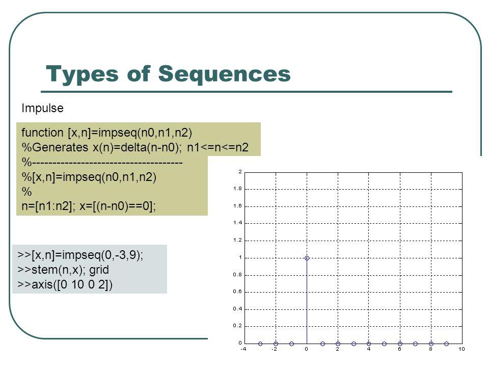 Sinusoidal Sequence » n=[0:9]; » h=sin(0.503*n); » stem(n,h),grid