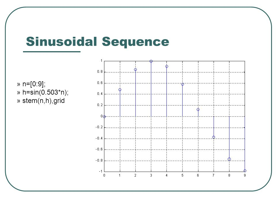 Convolution » [x,n]=impseq(0,-3,9); » h=sin(0.503*n); » y=conv(x,h) y = Columns 1 through 7 0 0 0 -0.9981 -0.8447 -0.4821 0 Columns 8 through 14 0.4821 0.8447 0.9981 0.9042 0.5864 0.1233 -0.3704 Columns 15 through 21 -0.7723 -0.9829 0 0 0 0 0 Columns 22 through 25 0 0 0 0