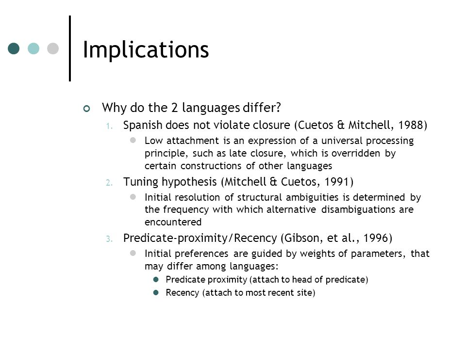 Implications Why do the 2 languages differ. 1.