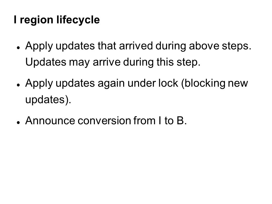 I region lifecycle Apply updates that arrived during above steps.