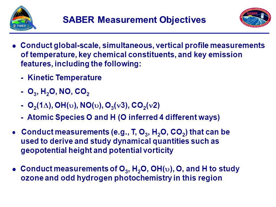 SABER Measurement Objectives Conduct global-scale, simultaneous, vertical profile measurements of temperature, key chemical constituents, and key emis