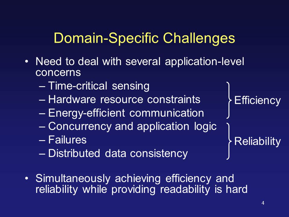 4 Domain-Specific Challenges Need to deal with several application-level concerns –Time-critical sensing –Hardware resource constraints –Energy-efficient communication –Concurrency and application logic –Failures –Distributed data consistency Simultaneously achieving efficiency and reliability while providing readability is hard Efficiency Reliability