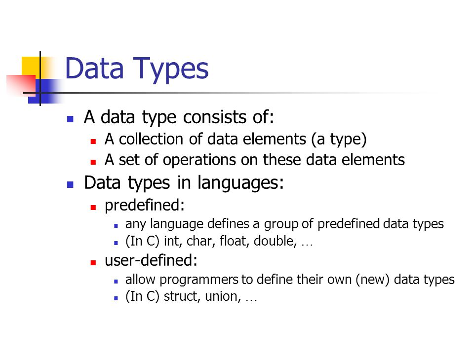 Data Type Examples Predefined: type: int elements: …, -2, -1, 0, 1, 2, … operations: +, -, *, /, %, … User-defined: type: complex elements: 1+3i, -5+8i, … operations: newComplex, add, distance, …