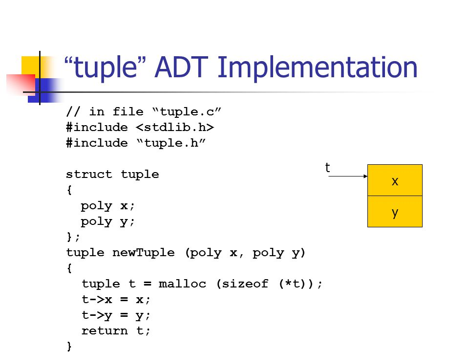 """"""" tuple """" ADT Implementation // in file """"tuple.c"""" #include #include """"tuple.h"""" struct tuple { poly x; poly y; }; tuple newTuple (poly x, poly y) { tupl"""