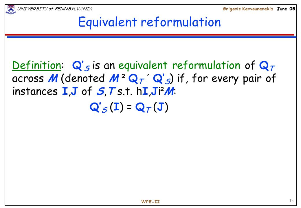 15 UNIVERSITY of PENNSYLVANIAGrigoris Karvounarakis June 05 WPE-II Equivalent reformulation Definition: Q' S is an equivalent reformulation of Q T across M (denoted M ² Q T ´ Q' S ) if, for every pair of instances I,J of S,T s.t.