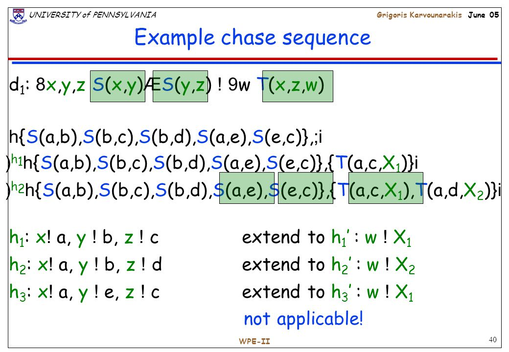 40 UNIVERSITY of PENNSYLVANIAGrigoris Karvounarakis June 05 WPE-II Example chase sequence h 1 : x .