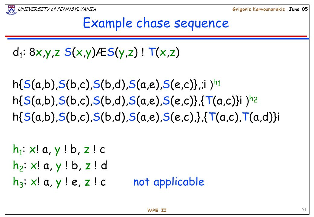 51 UNIVERSITY of PENNSYLVANIAGrigoris Karvounarakis June 05 WPE-II Example chase sequence d 1 : 8 x,y,z S(x,y) Æ S(y,z) .