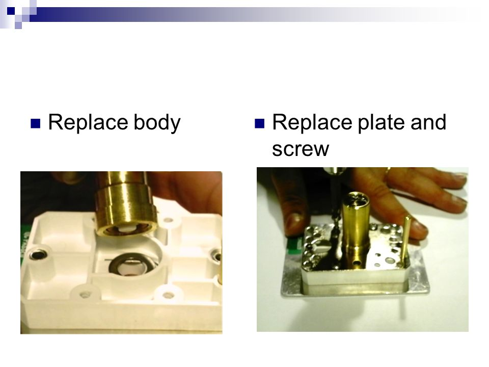 Replace body Replace plate and screw