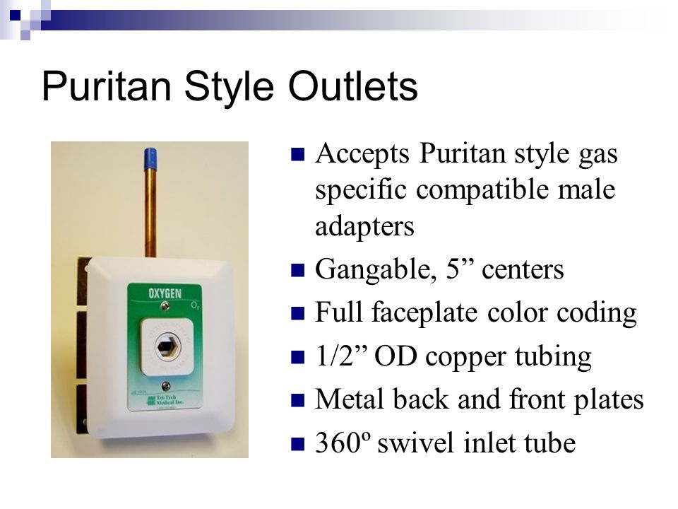 """Accepts Puritan style gas specific compatible male adapters Gangable, 5"""" centers Full faceplate color coding 1/2"""" OD copper tubing Metal back and fron"""