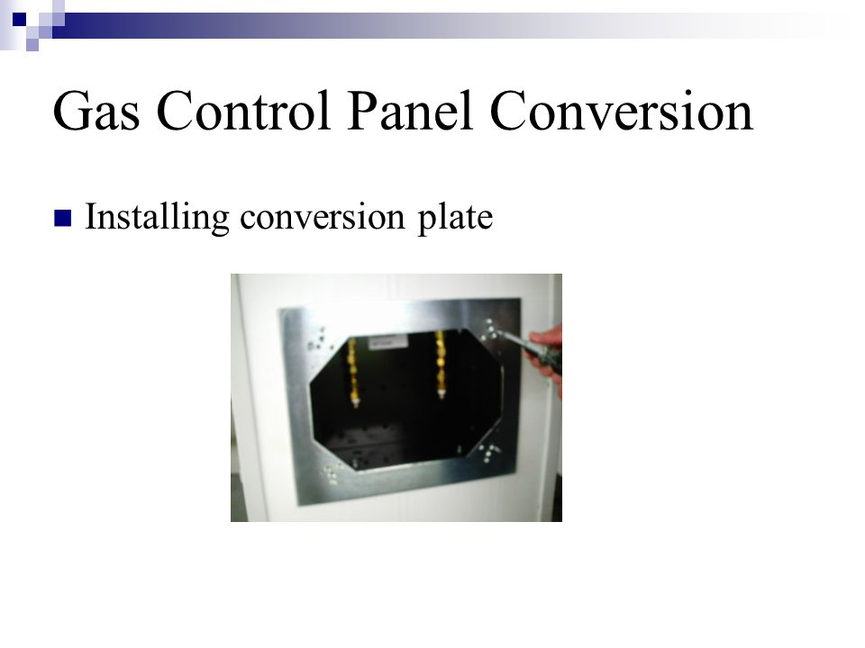 Gas Control Panel Conversion Installing conversion plate