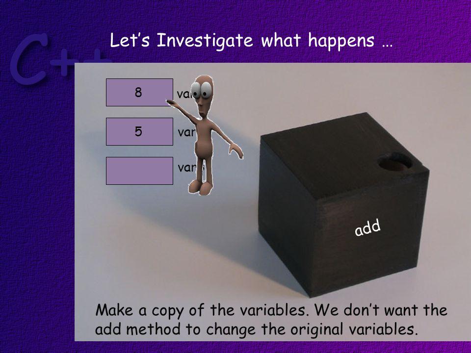 var1 var25 8 Make a copy of the variables.