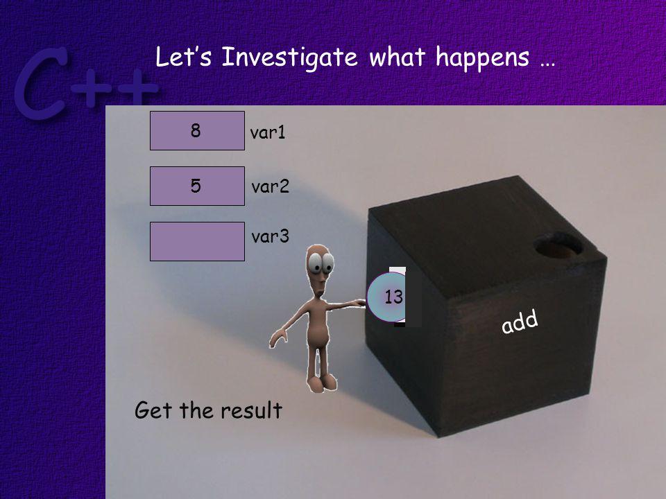 add Get the result var1 var25 8 var3 Let's Investigate what happens … 13