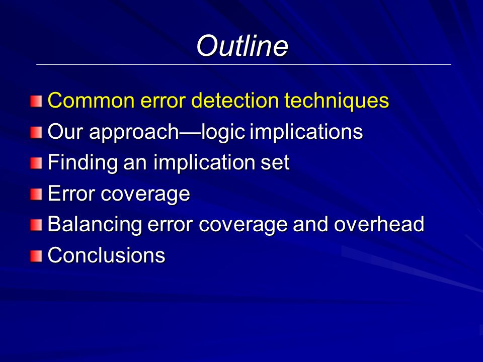 (Some) Previous Techniques in Online Error Detection Redundancy in time — e.g.