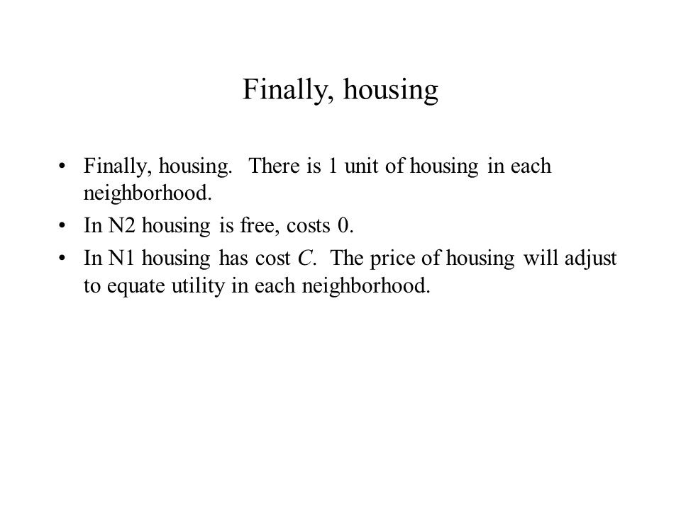 Finally, housing Finally, housing.There is 1 unit of housing in each neighborhood.