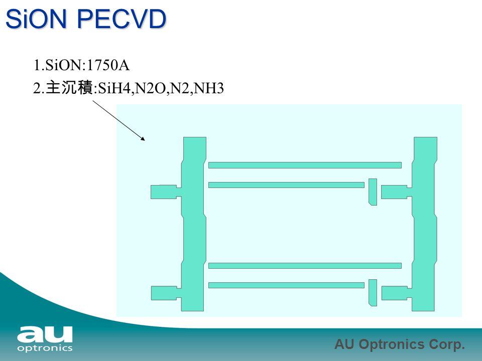 AU Optronics Corp. SiON PECVD 1.SiON:1750A 2. 主沉積 :SiH4,N2O,N2,NH3