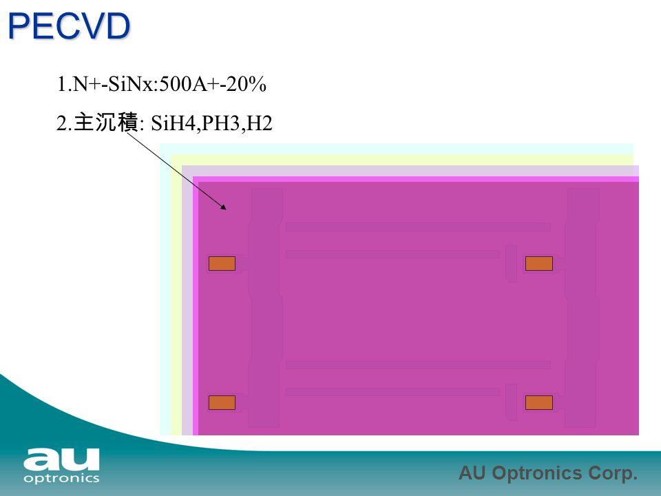 AU Optronics Corp. PECVD 1.N+-SiNx:500A+-20% 2. 主沉積 : SiH4,PH3,H2