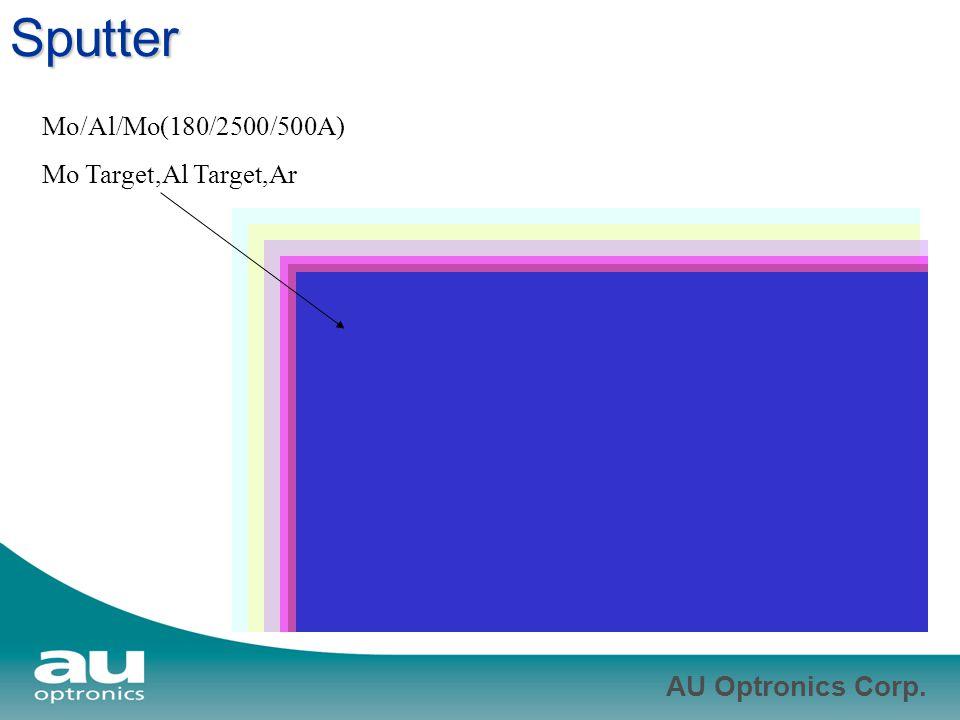 AU Optronics Corp. Sputter Mo/Al/Mo(180/2500/500A) Mo Target,Al Target,Ar