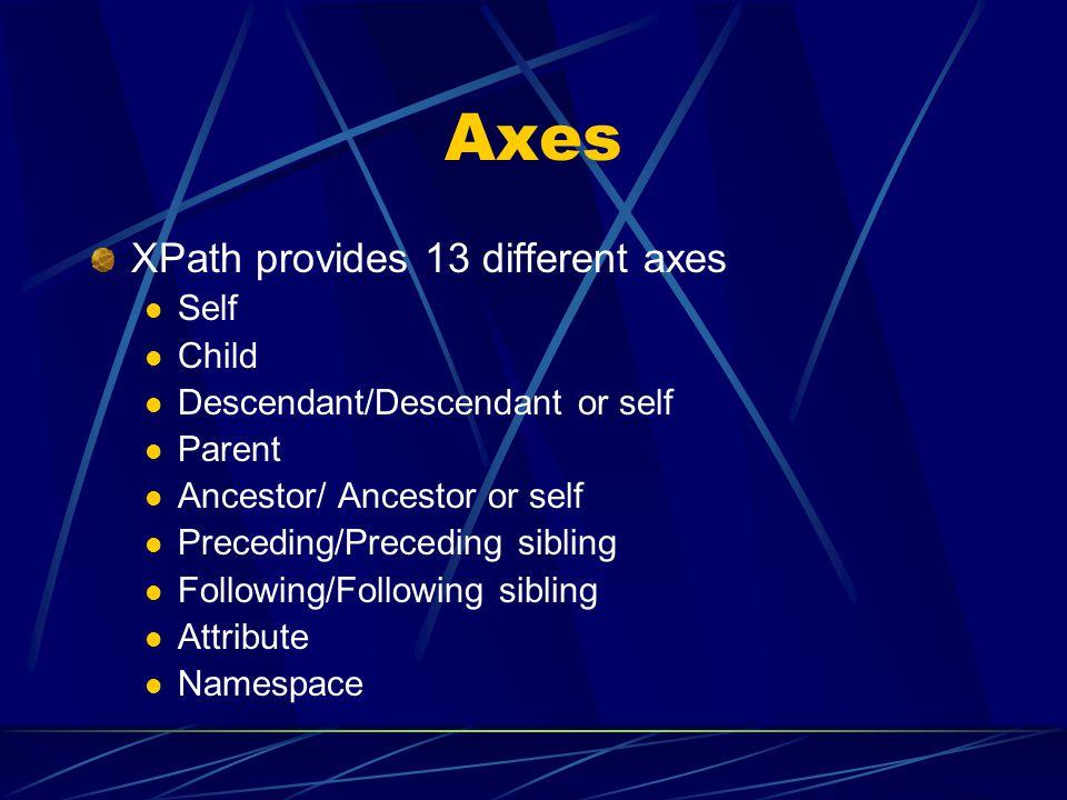 Axes XPath provides 13 different axes Self Child Descendant/Descendant or self Parent Ancestor/ Ancestor or self Preceding/Preceding sibling Following
