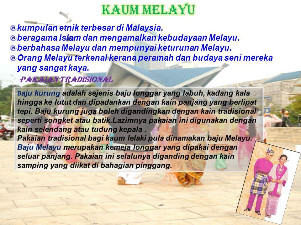 kumpulan etnik terbesar di Malaysia. beragama Islam dan mengamalkan kebudayaan Melayu. berbahasa Melayu dan mempunyai keturunan Melayu. Orang Melayu t