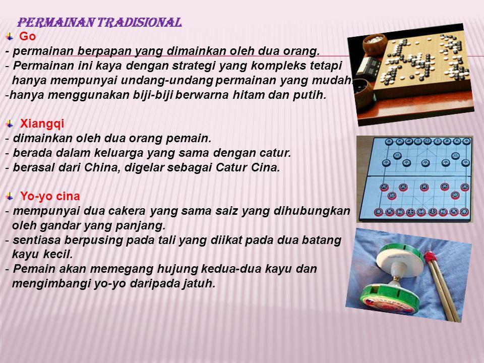 Permainan Tradisional Go - permainan berpapan yang dimainkan oleh dua orang. - Permainan ini kaya dengan strategi yang kompleks tetapi hanya mempunyai