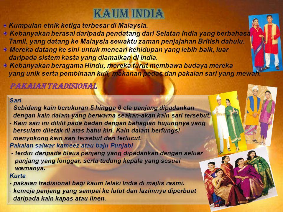 Kumpulan etnik ketiga terbesar di Malaysia. Kebanyakan berasal daripada pendatang dari Selatan India yang berbahasa Tamil, yang datang ke Malaysia sew