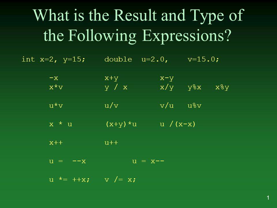 Switch Statement syntax switch ( expression ) { case constant : statements break; case constant : statements default: statements } 22