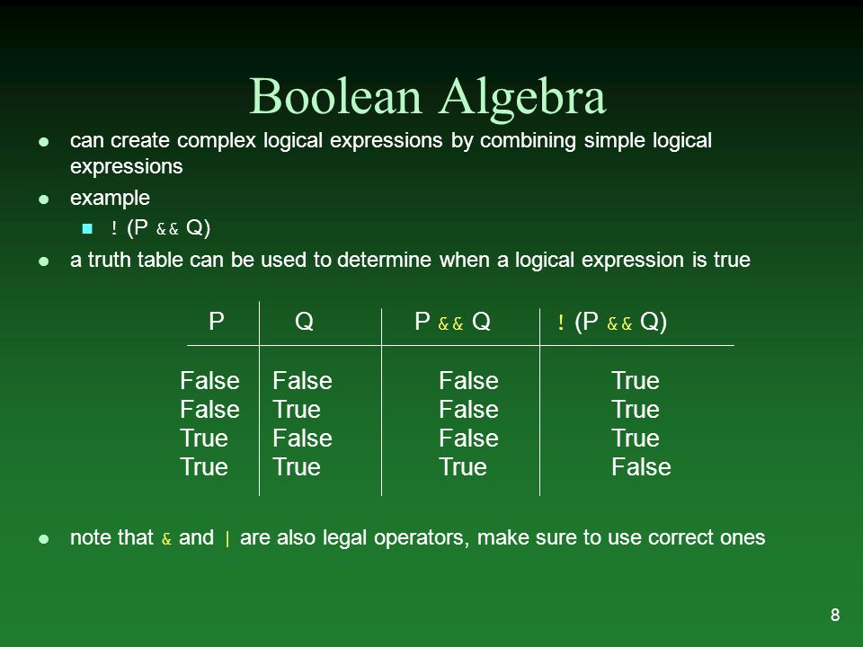 Boolean Algebra l can create complex logical expressions by combining simple logical expressions l example ! (P && Q) l a truth table can be used to d