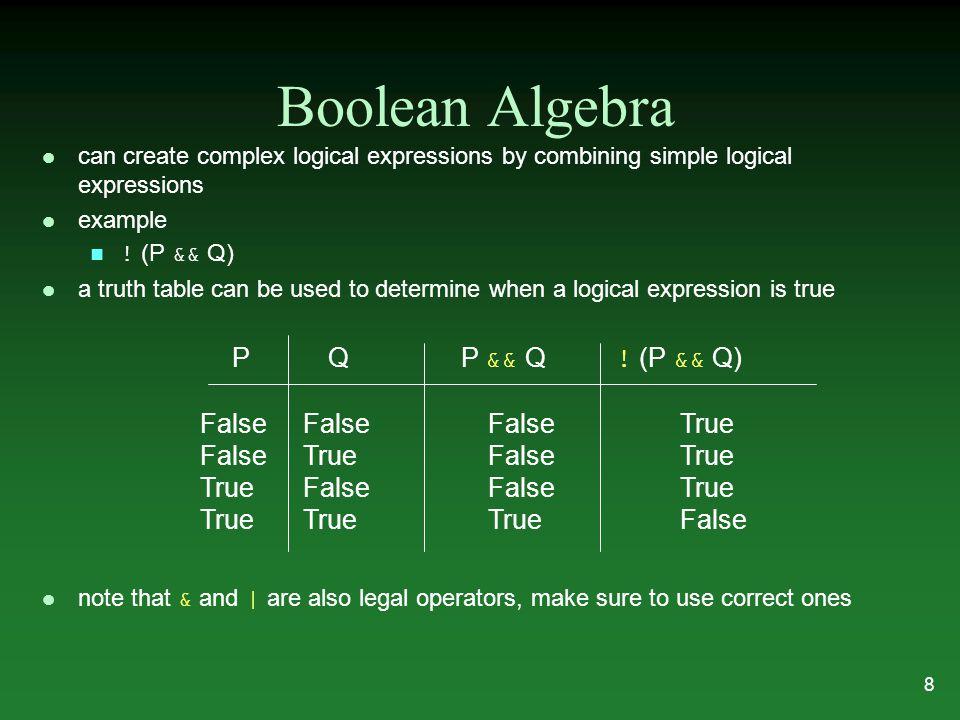 Example Logical Expressions bool P = true; bool Q = false; bool R = true; bool S = P && Q; bool T = P && !Q bool U = !Q || R; bool V = P || !Q || !R; bool W = P && Q && !R; bool X = Q || (P && R); bool Y = !(R && !Q); bool Z = !(P && Q && R); 9