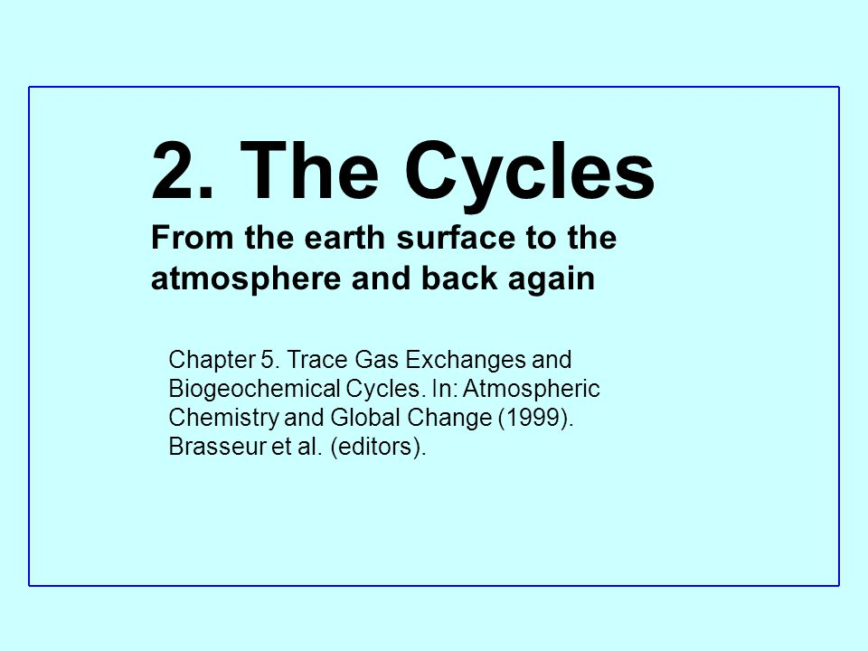 2. The Cycles From the earth surface to the atmosphere and back again Chapter 5. Trace Gas Exchanges and Biogeochemical Cycles. In: Atmospheric Chemis