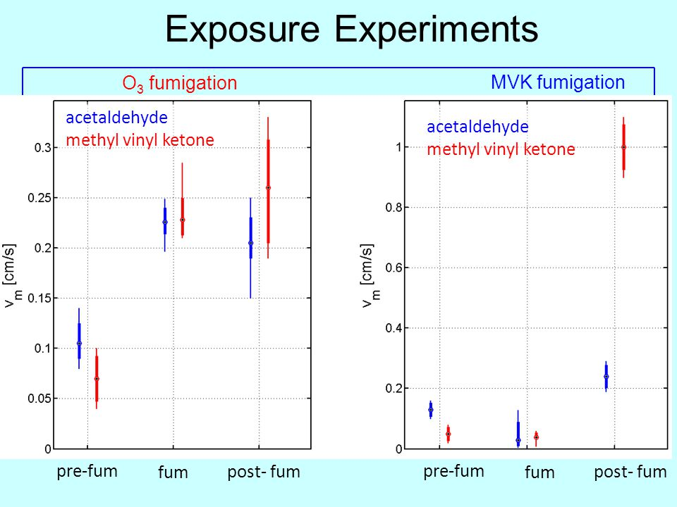 Exposure Experiments pre-fum fum post- fum pre-fum fum post- fum acetaldehyde methyl vinyl ketone acetaldehyde methyl vinyl ketone O 3 fumigation MVK