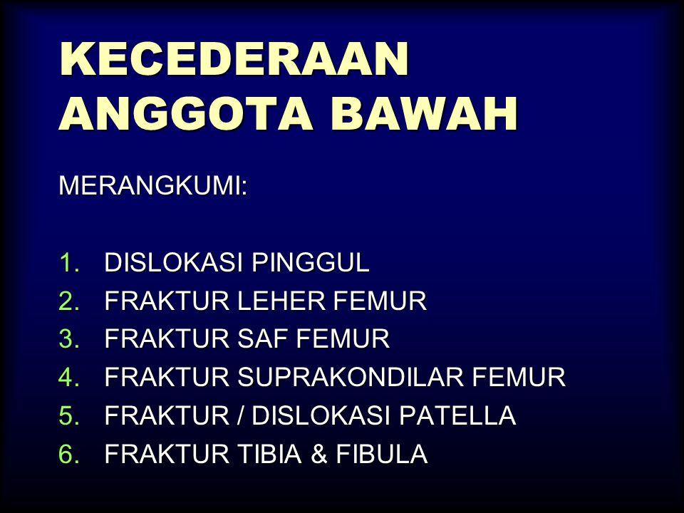 KECEDERAAN ANGGOTA BAWAH MERANGKUMI: 1.DISLOKASI PINGGUL 2.FRAKTUR LEHER FEMUR 3.FRAKTUR SAF FEMUR 4.FRAKTUR SUPRAKONDILAR FEMUR 5.FRAKTUR / DISLOKASI