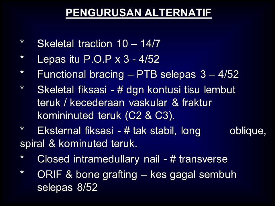 PENGURUSAN ALTERNATIF * Skeletal traction 10 – 14/7 * Lepas itu P.O.P x 3 - 4/52 *Functional bracing – PTB selepas 3 – 4/52 * Skeletal fiksasi - # dgn