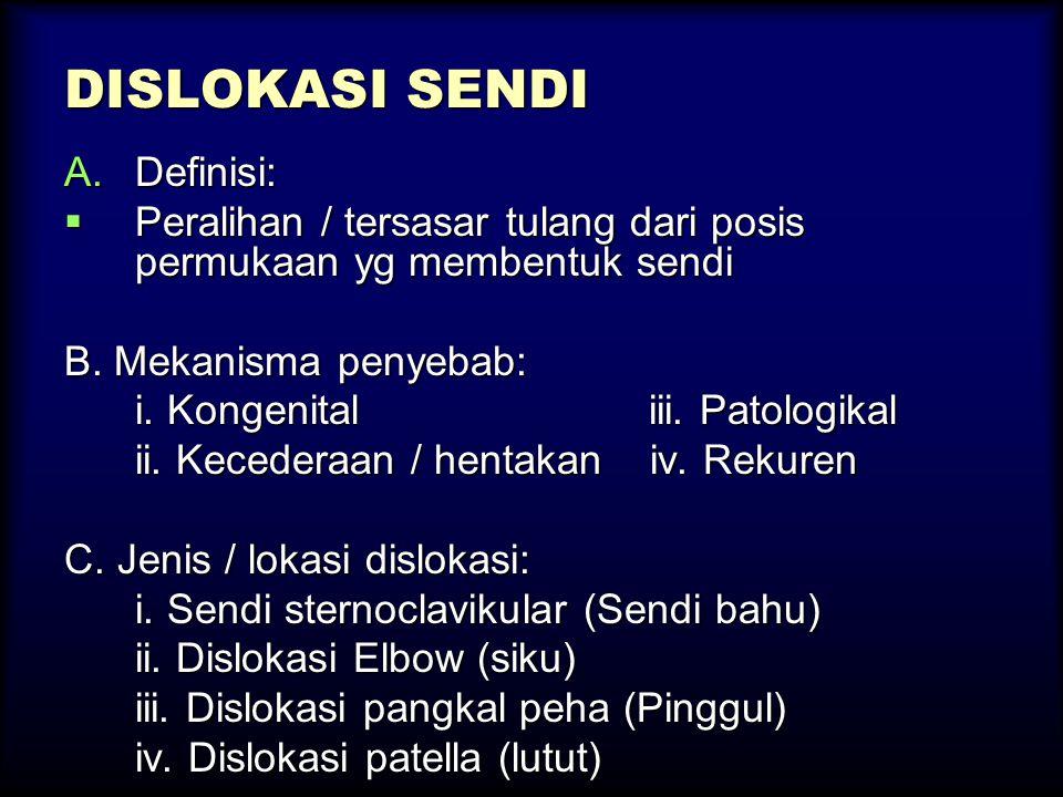 DISLOKASI SENDI A.Definisi:  Peralihan / tersasar tulang dari posis permukaan yg membentuk sendi B. Mekanisma penyebab: i. Kongenital iii. Patologika