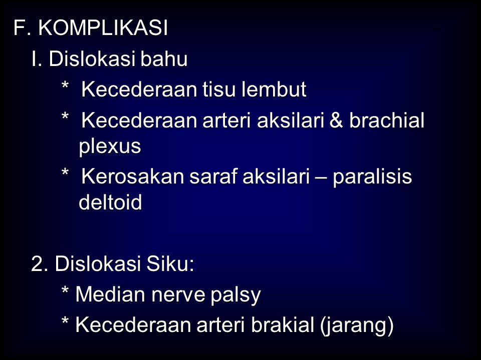 F. KOMPLIKASI I. Dislokasi bahu I. Dislokasi bahu * Kecederaan tisu lembut * Kecederaan arteri aksilari & brachial plexus * Kerosakan saraf aksilari –