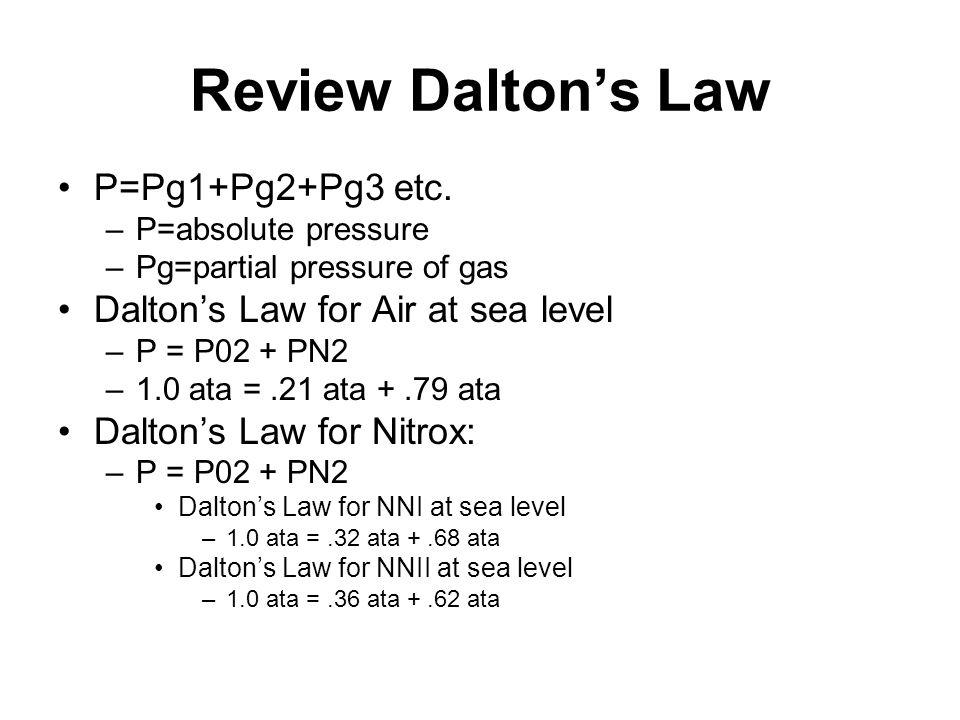 Review Dalton's Law P=Pg1+Pg2+Pg3 etc.