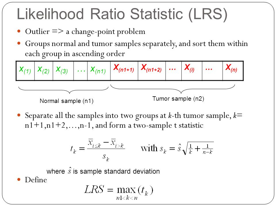 Likelihood Ratio Statistic (LRS) Outlier => a change-point problem Groups normal and tumor samples separately, and sort them within each group in ascending order Separate all the samples into two groups at k-th tumor sample, k= n1+1,n1+2,…,n-1, and form a two-sample t statistic Define x (1) x (2) x (3) …x (n1) X (n1+1) X (n1+2) …X (i) …X (n) Normal sample (n1) Tumor sample (n2) where is sample standard deviation