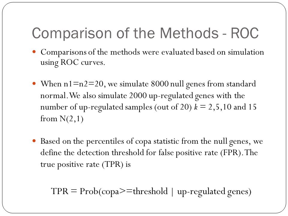 Comparison of the Methods - ROC Comparisons of the methods were evaluated based on simulation using ROC curves.