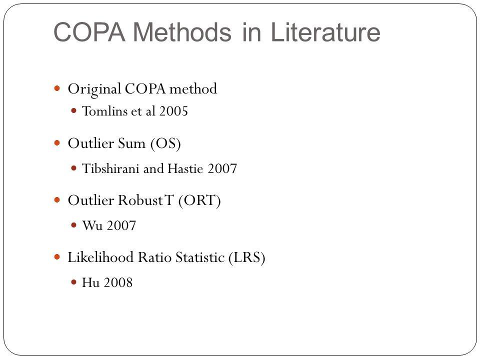 COPA Methods in Literature Original COPA method Tomlins et al 2005 Outlier Sum (OS) Tibshirani and Hastie 2007 Outlier Robust T (ORT) Wu 2007 Likelihood Ratio Statistic (LRS) Hu 2008