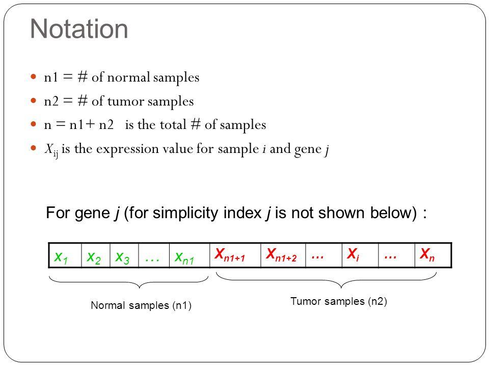 Notation n1 = # of normal samples n2 = # of tumor samples n = n1+ n2 is the total # of samples X ij is the expression value for sample i and gene j x1x1 x2x2 x3x3 …x n1 X n1+1 X n1+2 …XiXi …XnXn For gene j (for simplicity index j is not shown below) : Normal samples (n1) Tumor samples (n2)