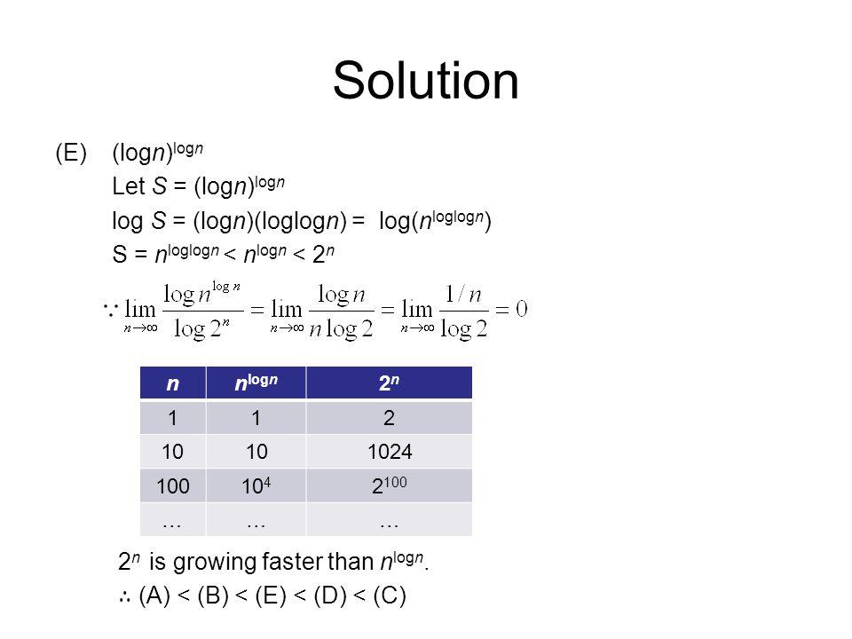 Solution (E)(logn) logn Let S = (logn) logn log S = (logn)(loglogn) = log(n loglogn ) S = n loglogn < n logn < 2 n 2 n is growing faster than n logn.