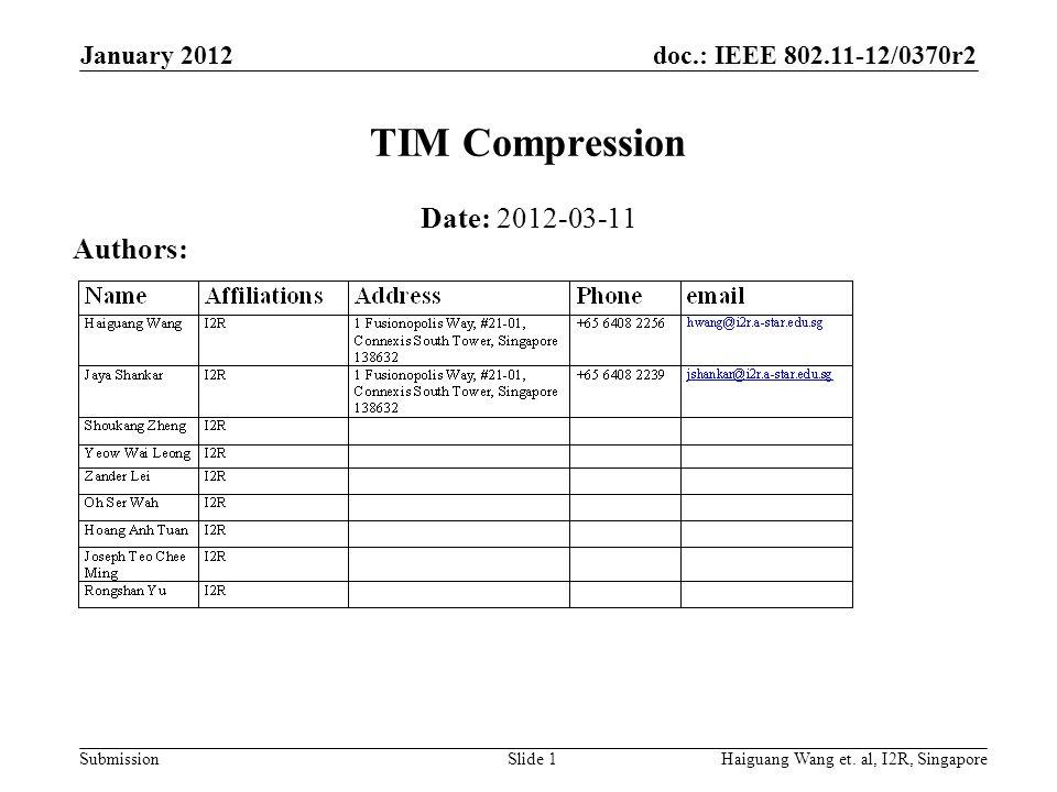 doc.: IEEE 802.11-12/0370r2 Submission January 2012 Jaya Shankar et.