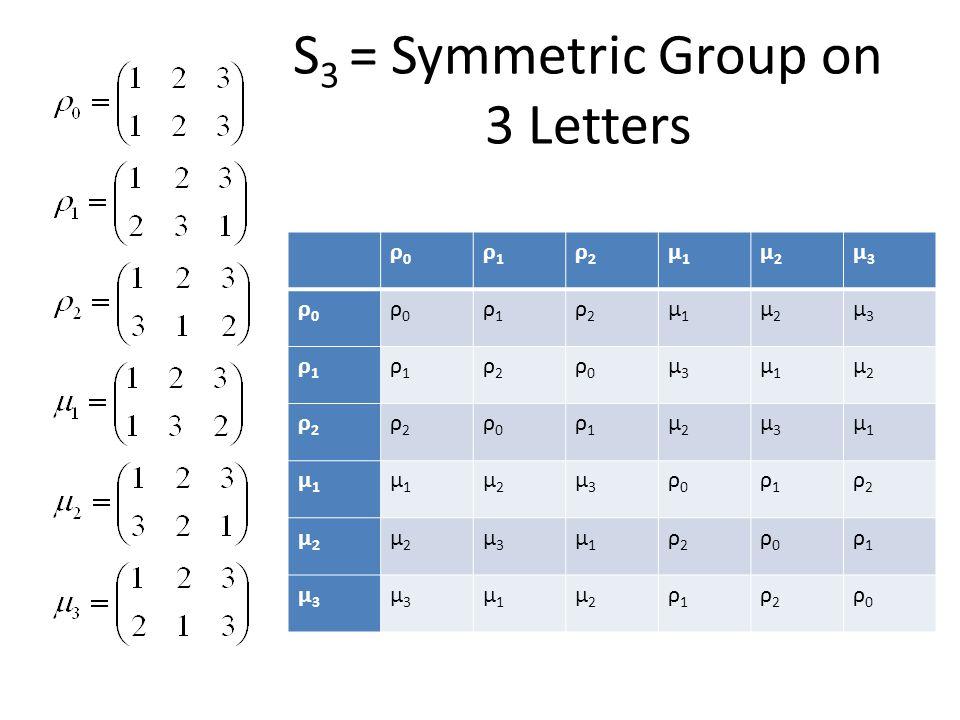 S 3 = Symmetric Group on 3 Letters ρ0ρ0 ρ1ρ1 ρ2ρ2 μ1μ1 μ2μ2 μ3μ3 ρ0ρ0 ρ0ρ0 ρ1ρ1 ρ2ρ2 μ1μ1 μ2μ2 μ3μ3 ρ1ρ1 ρ1ρ1 ρ2ρ2 ρ0ρ0 μ3μ3 μ1μ1 μ2μ2 ρ2ρ2 ρ2ρ2 ρ0ρ0 ρ1ρ1 μ2μ2 μ3μ3 μ1μ1 μ1μ1 μ1μ1 μ2μ2 μ3μ3 ρ0ρ0 ρ1ρ1 ρ2ρ2 μ2μ2 μ2μ2 μ3μ3 μ1μ1 ρ2ρ2 ρ0ρ0 ρ1ρ1 μ3μ3 μ3μ3 μ1μ1 μ2μ2 ρ1ρ1 ρ2ρ2 ρ0ρ0