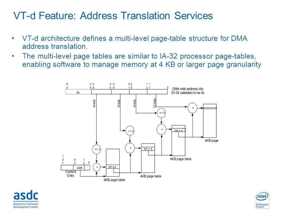 INTEL CONFIDENTIAL VT-d Feature: Address Translation Services VT-d architecture defines a multi-level page-table structure for DMA address translation