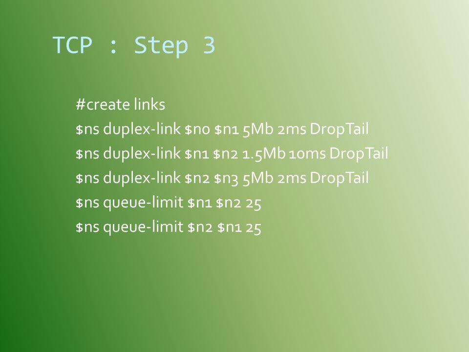 TCP : Step 3 #create links $ns duplex-link $n0 $n1 5Mb 2ms DropTail $ns duplex-link $n1 $n2 1.5Mb 10ms DropTail $ns duplex-link $n2 $n3 5Mb 2ms DropTail $ns queue-limit $n1 $n2 25 $ns queue-limit $n2 $n1 25