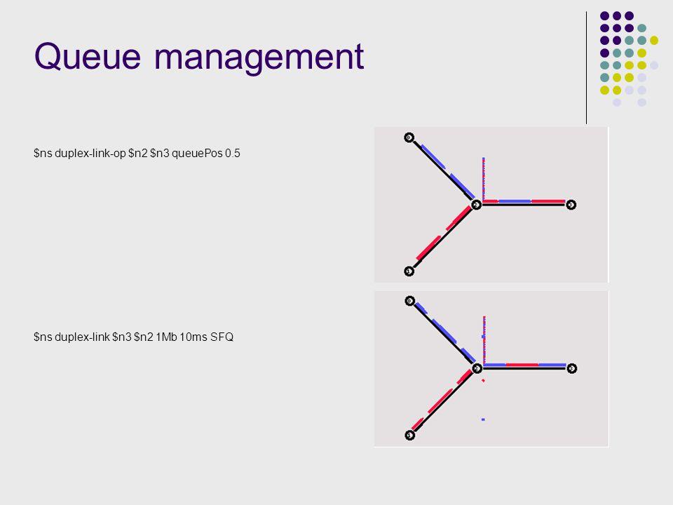 Queue management $ns duplex-link-op $n2 $n3 queuePos 0.5 $ns duplex-link $n3 $n2 1Mb 10ms SFQ