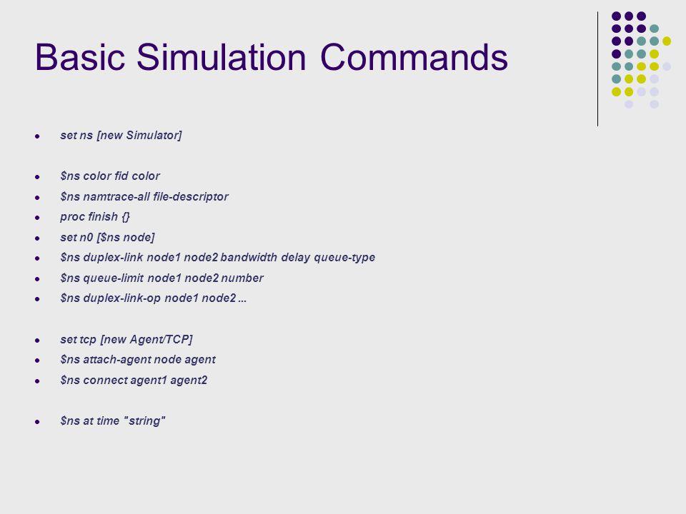 Basic Simulation Commands set ns [new Simulator] $ns color fid color $ns namtrace-all file-descriptor proc finish {} set n0 [$ns node] $ns duplex-link