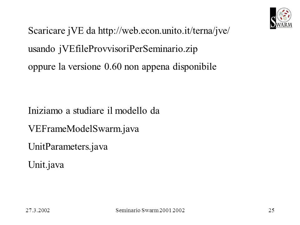 27.3.2002Seminario Swarm 2001 200225 Scaricare jVE da http://web.econ.unito.it/terna/jve/ usando jVEfileProvvisoriPerSeminario.zip oppure la versione 0.60 non appena disponibile Iniziamo a studiare il modello da VEFrameModelSwarm.java UnitParameters.java Unit.java