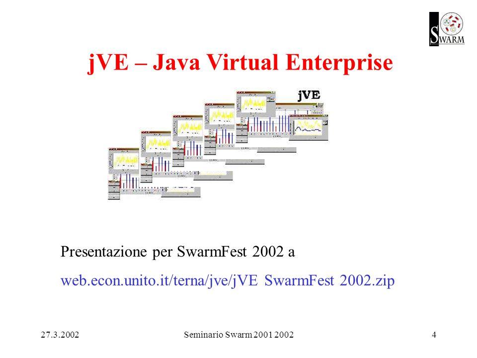 27.3.2002Seminario Swarm 2001 20024 jVE – Java Virtual Enterprise Presentazione per SwarmFest 2002 a web.econ.unito.it/terna/jve/jVE SwarmFest 2002.zip